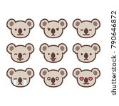 set of cute koala emoticons... | Shutterstock .eps vector #790646872