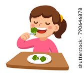 cute cartoon happy girl eating... | Shutterstock .eps vector #790646878