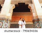 dreamy couple dressed in white... | Shutterstock . vector #790654336