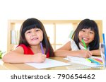 asian kids drawing picture with ... | Shutterstock . vector #790654462