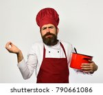 chef holds soup or compote... | Shutterstock . vector #790661086