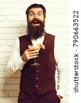 handsome bearded man with long... | Shutterstock . vector #790663522