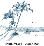 summer beach with palm trees ... | Shutterstock .eps vector #79066450
