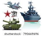 set of cartoon military... | Shutterstock .eps vector #790669696