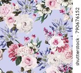 seamless floral pattern with... | Shutterstock .eps vector #790676152