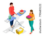 isometric woman ironing clothes ... | Shutterstock .eps vector #790685122