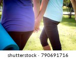 couple fitness woman with black ... | Shutterstock . vector #790691716