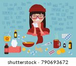 young girl in glasses and red... | Shutterstock .eps vector #790693672