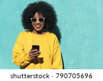 beautiful afro american woman... | Shutterstock . vector #790705696