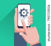 settings on smartphone screen.... | Shutterstock .eps vector #790715026