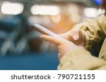 close up traveler using and... | Shutterstock . vector #790721155