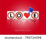 valentine's day greeting card.... | Shutterstock .eps vector #790724398
