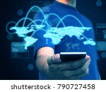 hand holding smart phone... | Shutterstock . vector #790727458