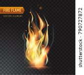 realistic burning fire flame ... | Shutterstock .eps vector #790727872