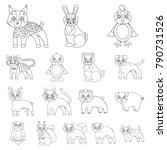 toy animals outline icons in... | Shutterstock .eps vector #790731526