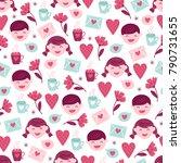 st. valentine's day seamless... | Shutterstock .eps vector #790731655