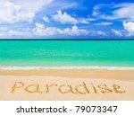 Word Paradise On Beach  ...