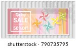 spring sale window display with ... | Shutterstock .eps vector #790735795