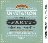vintage invitation to a party... | Shutterstock .eps vector #790748506