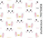 seamless bunny princess pattern.... | Shutterstock .eps vector #790750858