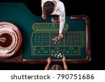 man croupier and woman playing... | Shutterstock . vector #790751686