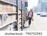 young beautiful woman walking... | Shutterstock . vector #790752592