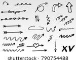 hand drawn doodle vector arrows. | Shutterstock .eps vector #790754488