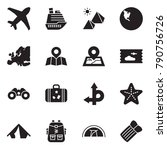 solid black vector icon set  ... | Shutterstock .eps vector #790756726