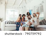 group of female friends making... | Shutterstock . vector #790759792
