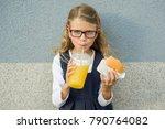 cute smiling little schoolgirl... | Shutterstock . vector #790764082