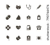pet vet icons. perfect black... | Shutterstock .eps vector #790766476