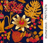 bright tropical flowers and... | Shutterstock .eps vector #790771276