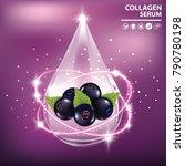 black currant collagen vitamin...   Shutterstock .eps vector #790780198
