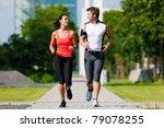 urban sports   couple jogging... | Shutterstock . vector #79078255