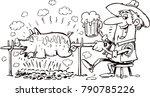 pig roasting over a fire | Shutterstock .eps vector #790785226