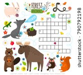 animals crossword. book puzzle... | Shutterstock .eps vector #790792198