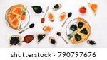 pancakes with caviar. on a... | Shutterstock . vector #790797676