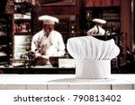 white cook hat on white wooden... | Shutterstock . vector #790813402