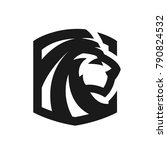 lion head  monochrome logo ...   Shutterstock .eps vector #790824532