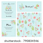 vector set of postcard with... | Shutterstock .eps vector #790834546