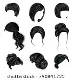 collection of female hairstyles ... | Shutterstock .eps vector #790841725