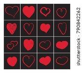 heart set. red on black love....   Shutterstock .eps vector #790842262