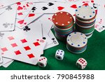 poker cards  chips  dice on the ...   Shutterstock . vector #790845988