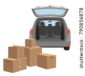 carton boxex in the boot of the ... | Shutterstock .eps vector #790856878