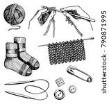knitting and crochet set ... | Shutterstock .eps vector #790871995
