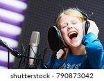 regording studio. child girl... | Shutterstock . vector #790873042