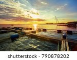 Fish Farms In Khong River With...