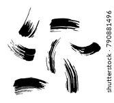 set of black brush strokes.... | Shutterstock .eps vector #790881496