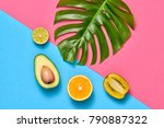 tropical palm leaf and fresh... | Shutterstock . vector #790887322