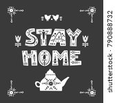 "vector square poster ""stay home""... 
